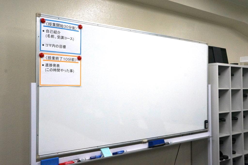 CodeShipスクール内のホワイトボード